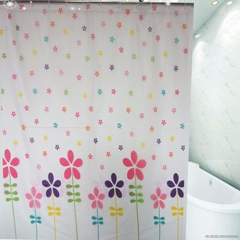 Flower Printed Blind Shower Curtain,PEVA Walmart Bathroom Shower Curtain  With Plastic Hooks