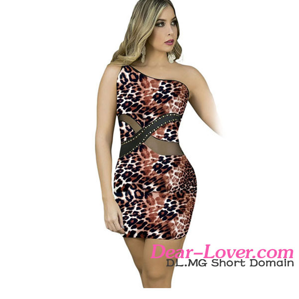 Dear-lover Women Sexy One Shoulder Leopard Nightclub Mini Dress