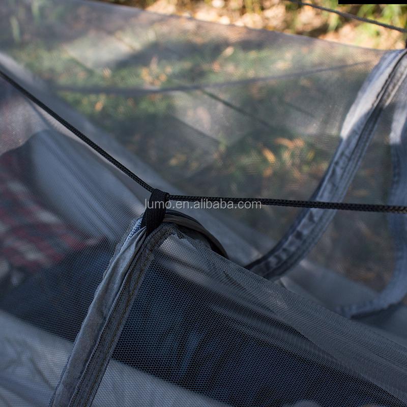 China Heißer Verkauf Yiwu Nylon Hängematte Private Label Mit Moskito Net Und Regen Fliegen Mit Baum Seile Und Karabiner Benutzerdefinierte größe