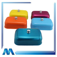 Hot selling square shape colorful stainless steel butter tray with lid