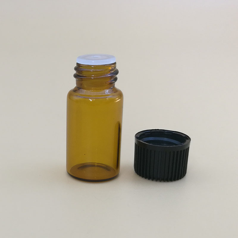 essential oil glass 1ml vial 2ml 3ml glass amber tube bottle black screw cap for 5ml tube vial