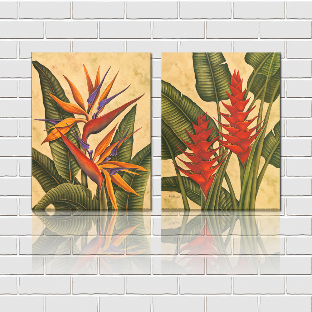 Home Goods Wall Decor: Free Shipping 2 Pieces Wall Art Set Tropical Flowers