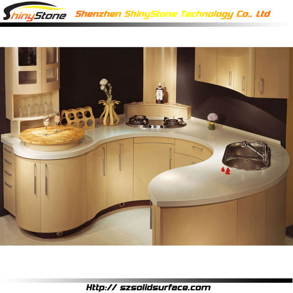 매력적인 원형 모양 디자인 현대 부엌 디자인 곡선 표면 주방 ...