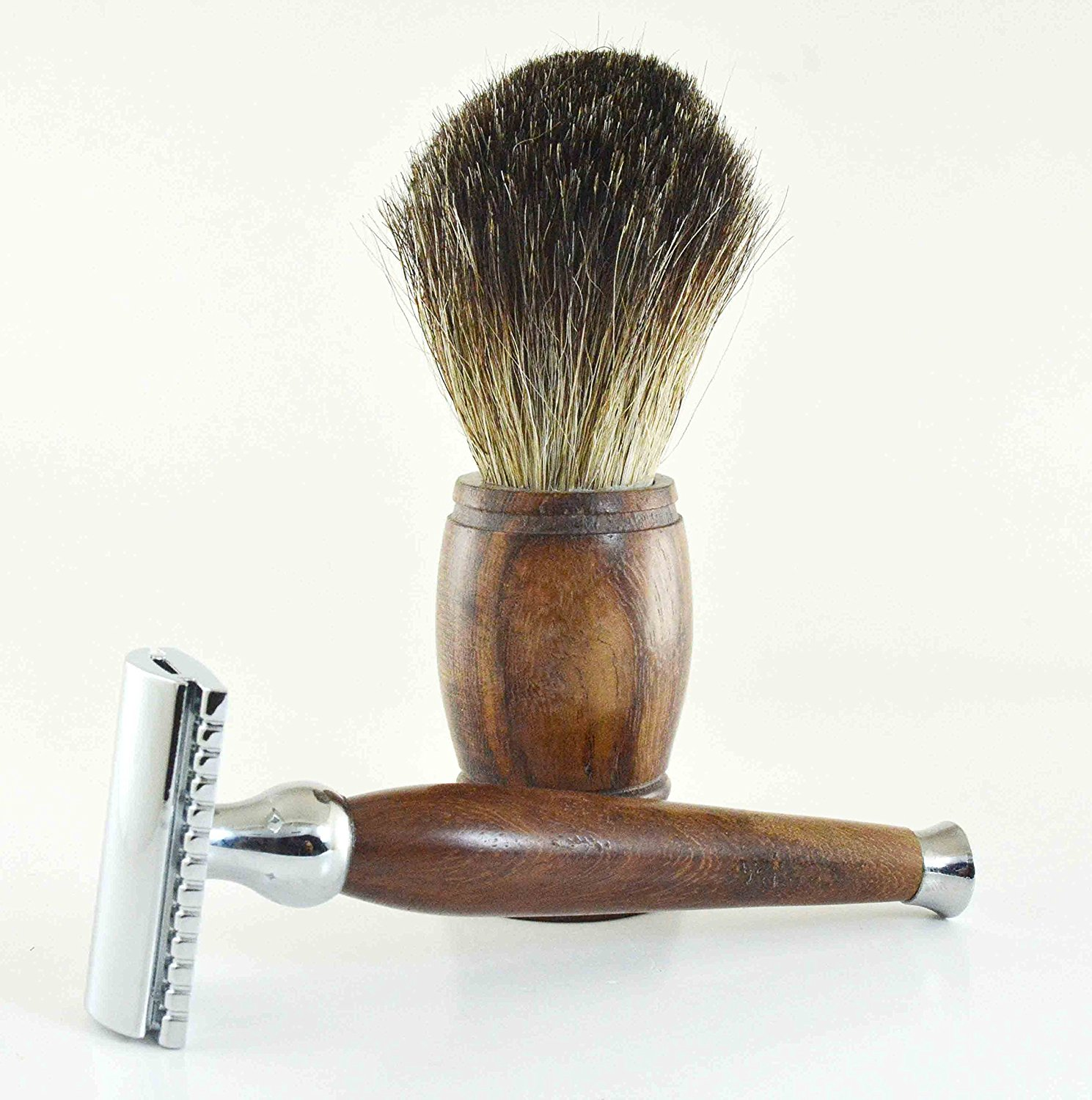 Safety Razor & Shaving Brush Combo by Cutlass | Rosewood Handles | Handmade | 100% Pure Badger Bristles | 5 New Replacement Blades | Stainless Steel | 100% Money Back Guarantee*