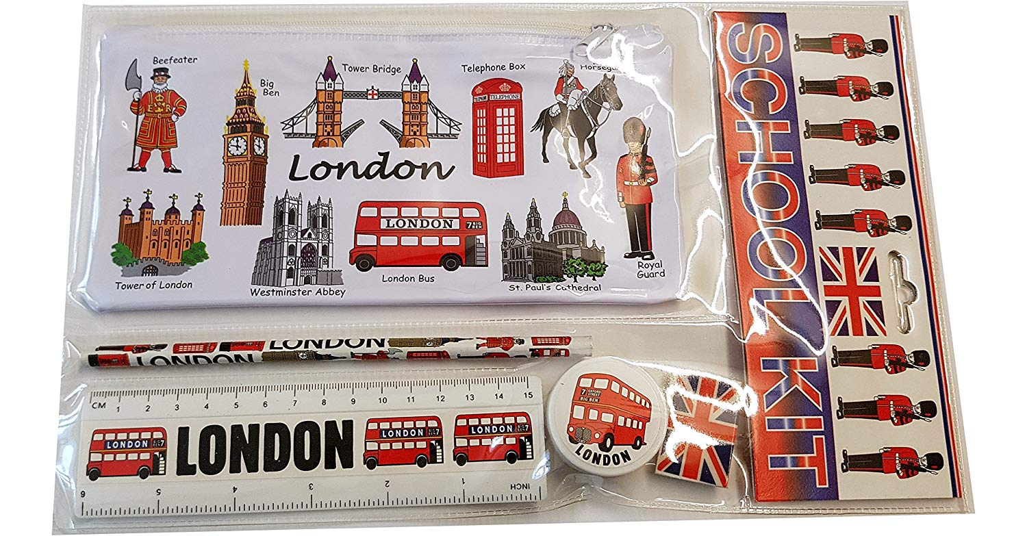 #1 Bestselling All In One School Kit - London Souvenir - Pen / Pencil Case, Sharpener, Eraser / Rubber, Ruler (inches/cm) - Trousse / Federmappchen / Caja de Lapices / Astuccio - White - EVERYTHING LONDON - Black Cab / Red Phone Box / London Bus / Royal Guard / Beefeater / Tower of London / Big Ben