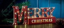Wooden MERRY CHRISTMAS Festive Table Top Decoration LED warm white light