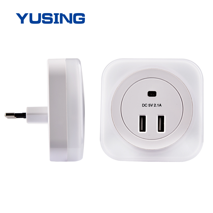 Wall Plug LED light 2 USB Charger Outlet Port Smartphone Wall Socket Night Light