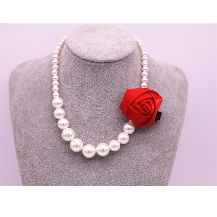 New style children necklace Korea sells exaggerative big pearl baby necklace flower hairpin double use article