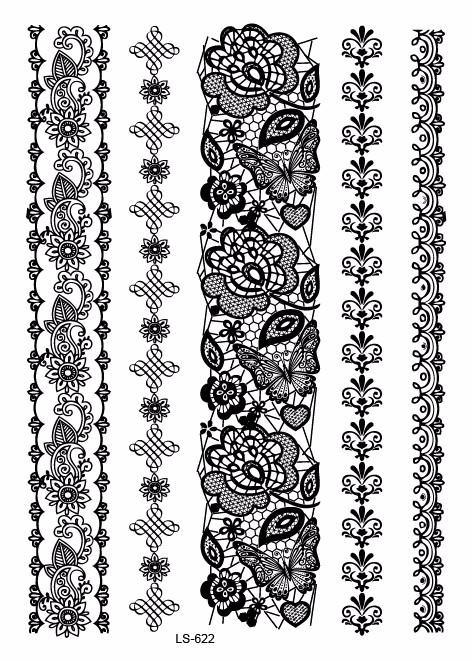 Dentelle Dessin série ls (2-2) en gros noir dentelle conceptions de tatouage noir en