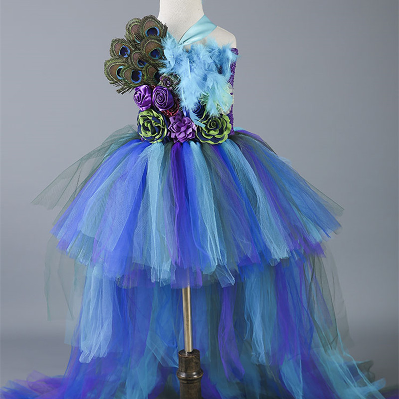 a5a8f1e8613 New Baby Girls Trailing Peacock Tutu Dress Tulle Feathers Flowers Girl  Dresses Kids Girls Party Wedding