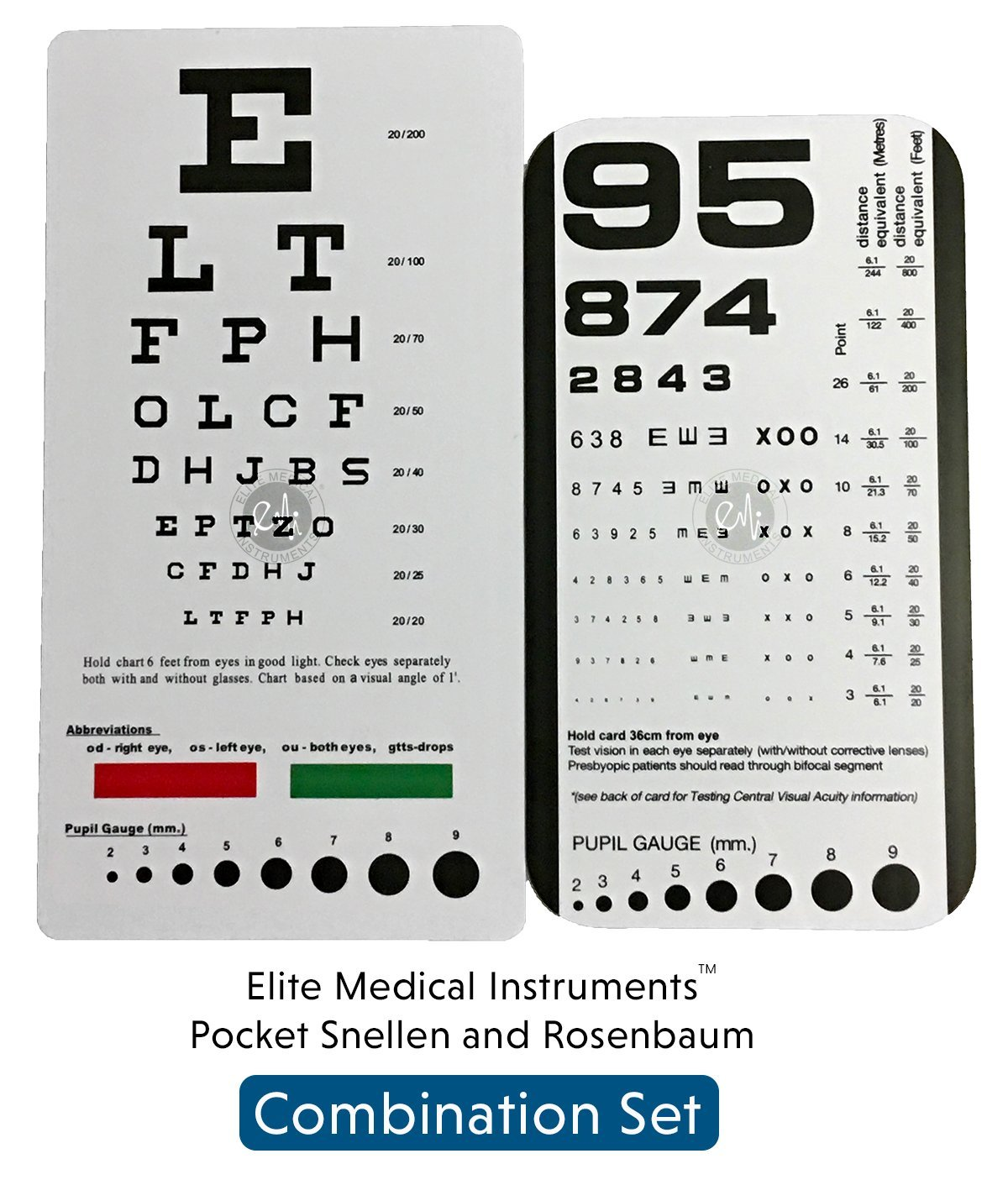 graphic about Rosenbaum Chart Printable called Acquire EMI Rosenbaum AND Snellen Pocket Eye Charts - 2 Pack inside
