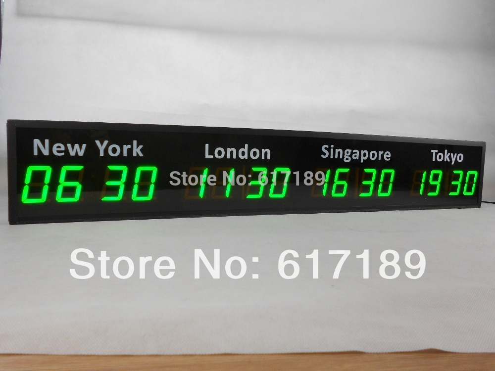 4 time zones customized 2.3inch 4 digits wall LED world
