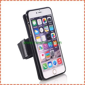 Wholesales Detachable Magnetic Sports Armband + Leather Coated TPU Back Case for iPhone 6