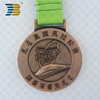 cheap custom copper medal with ribbon for 22km Huwei marathon finisher