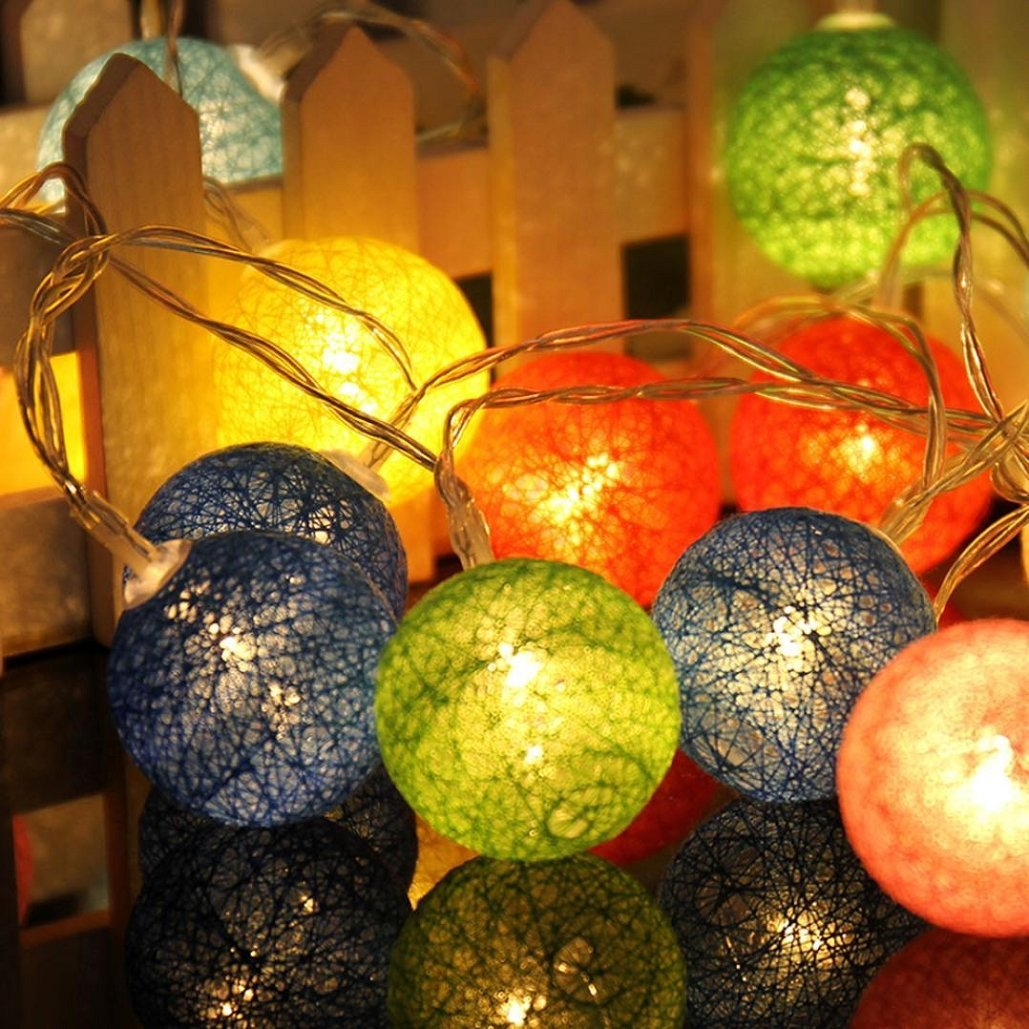1.3M 10LED Cotton Ball String Lights Party Wedding Christmas Decor Lights, Hotels,Stage , Festive Decorations,(Mode: Always On,Flashing)Tuscom (2.3M 20LED/, A)