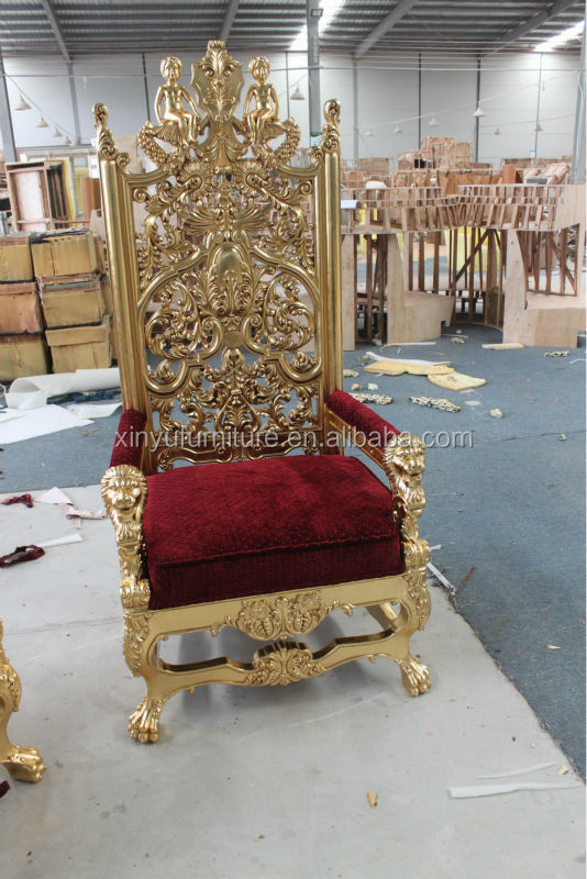 Pics for gold queen chair for Diy king throne chair