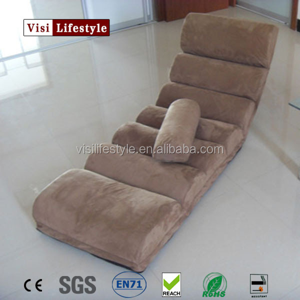 VISI Soft Fabric Adjustable Lounge Folding Chair Beanbag Tatami Folding Single Small Sofa Bed Computer Chair Floor Balcony Sofa