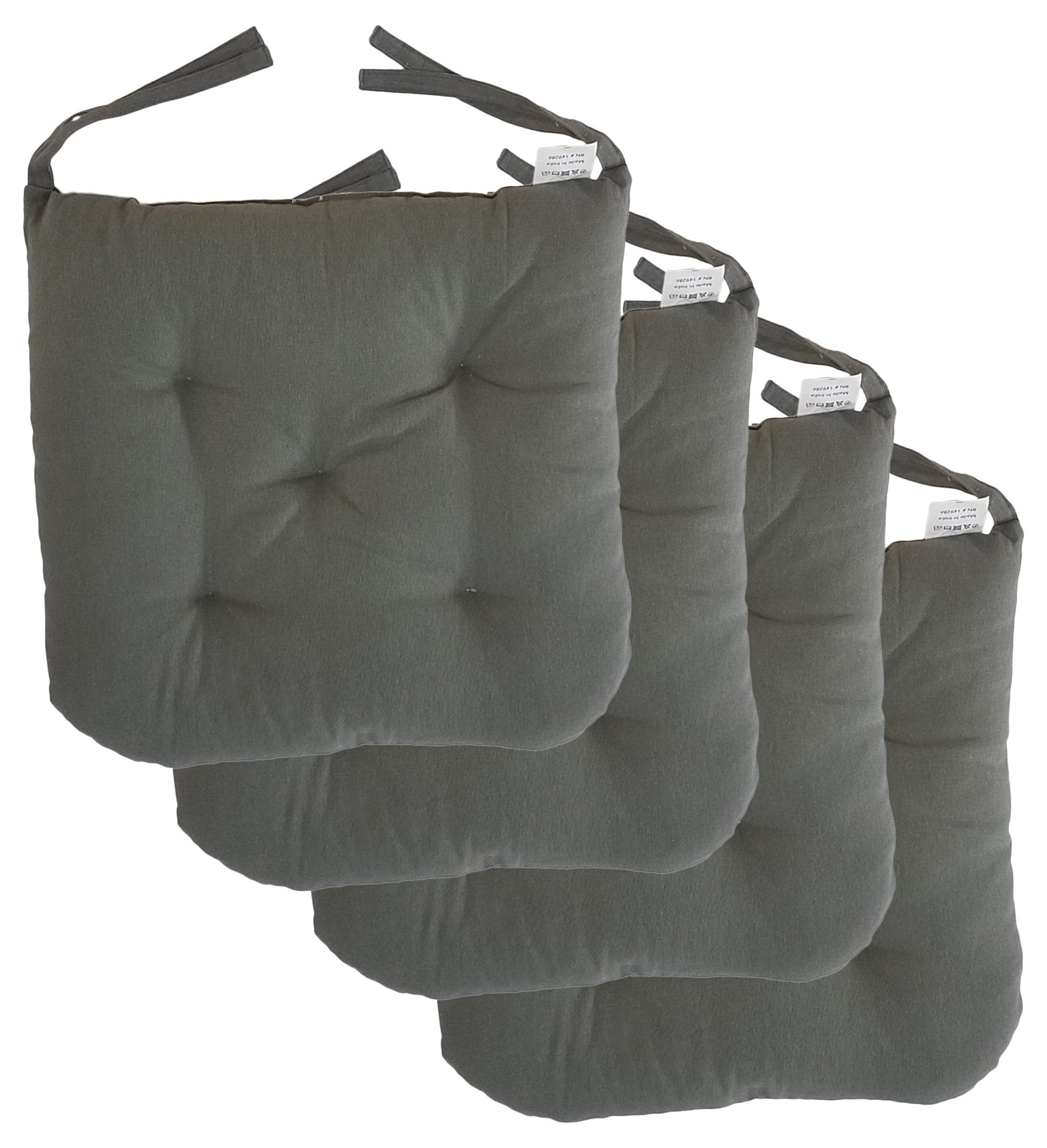"""Cottone 100% Cotton Chair Pads w/ Ties (Set of 4)   16"""" x 15"""" Round Square   Extra-Comfortable & Soft Seat Cushion   Ergonomic Pillows for Rocking, Dining, Patio, Camping, Kitchen Chairs & More (Grey)"""