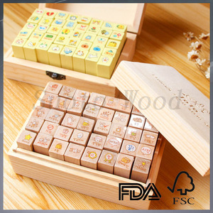 custom small children toy mini wooden stamp