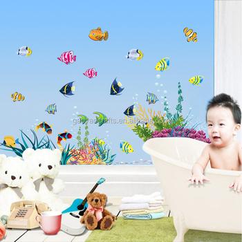 vinyl watertight fish cartoon wall sticker for shower tile stickers