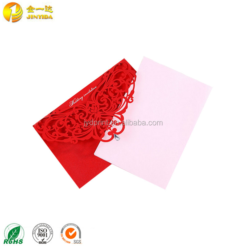 OEM professional handmade embossing english wedding invitation cards