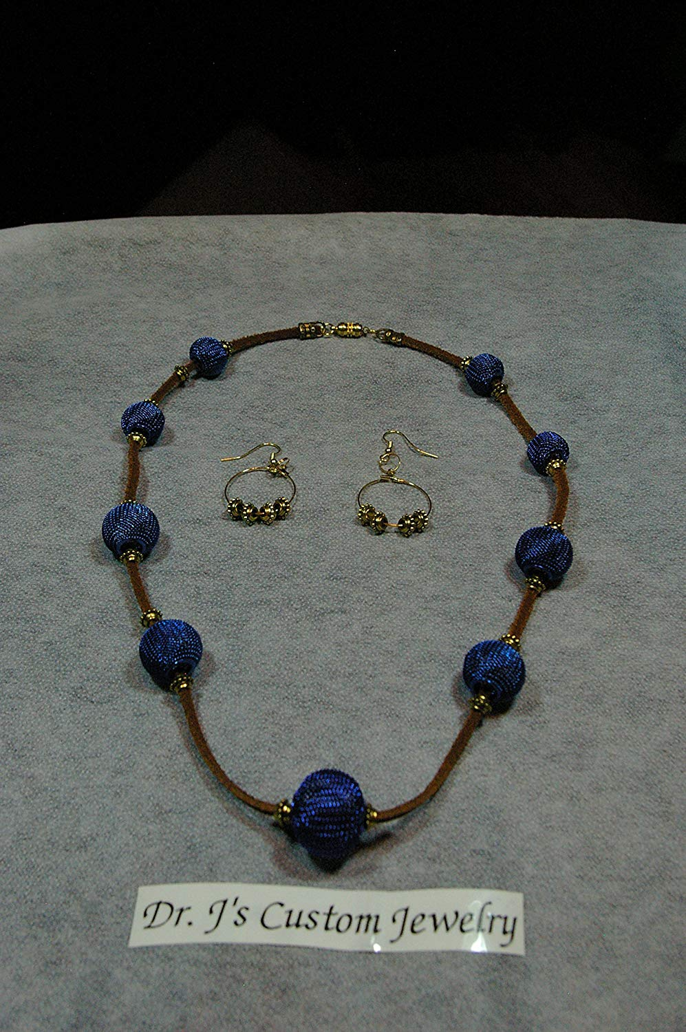 Mesh Royal Blue Beads and Suede cord Necklace Set /matching earring with twist closure