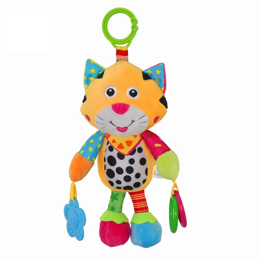 Wingingkids Baby Stroller Toys Soft Baby Rattles with Bells Teether Toy Gift with Multifunction for 0-6 Year Old Baby Early Development Cute Tiger