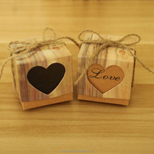 Vintage Wedding Gifts For Guests Kraft Boxes With Rustic Burlap Twine Wedding Favors Decoration Heart Candy Box