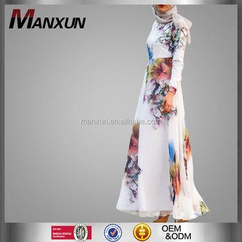 Islamic Dress Fashion Women Muslim Floral Printing Silk Floral Maxi ...