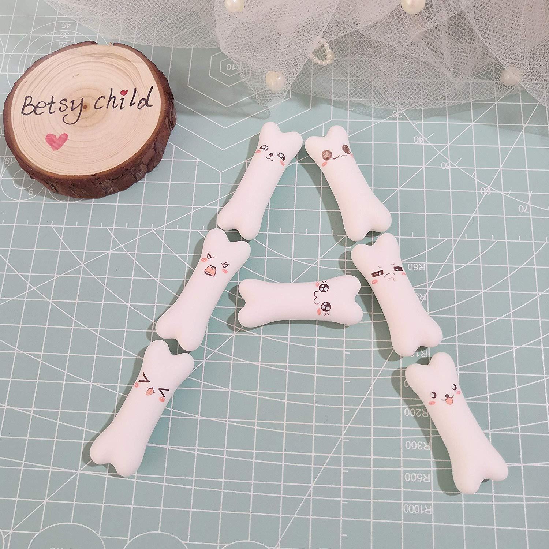 Miniature White dog bone, Cute Little Polymer Clay - Figurine Kawaii Style 9PCS