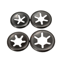 Stainless steel and black oxide star lock washers for shaft