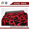 Red and black cobblestone pattern Chinese flock on flock flocked viscose sofa fabric China supplier