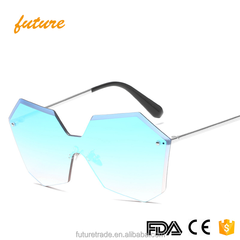 Trendy Future Ocean Clear New CE UV400 Italy Style Brand Fashional Polygon Frame 2019 Mirror Women Sunglasses, Gold sliver brown purple colors
