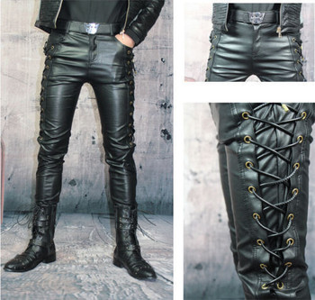 df5766ba2740 Fashion Men's Casual Skinny Slim Fit PU Pants Black Faux Leather Trousers