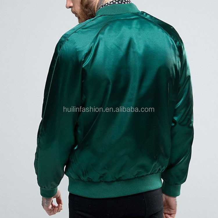 New Fashion Men Custom Plain Green Satin Bomber Baseball Jacket ...