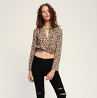 European style long sleeve v neck leopard print lady long sleeve crop top fashion animal blouse