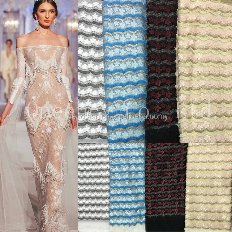 NQ325 Queency High Quality Bridal Tulle Net Eyelash Lace Fabric 100 Cotton Wholesale with 3D Flowers