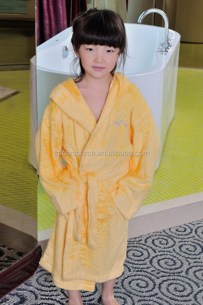 Indian gowns for girls thick plain cotton children frog bathrobe