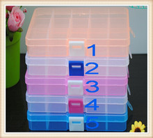 Empty 15 Compartment Plastic Clear Storage Box For Jewelry Rainbow loom bands Container Sundries Organizer