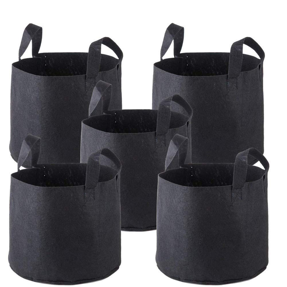 5-Pack Grow Bags Heavy Duty Thickened Nonwoven Plant Fabric Pots Handles, Multiple 1/2/3/5/7/10/15/20 Gallon,1Gallon