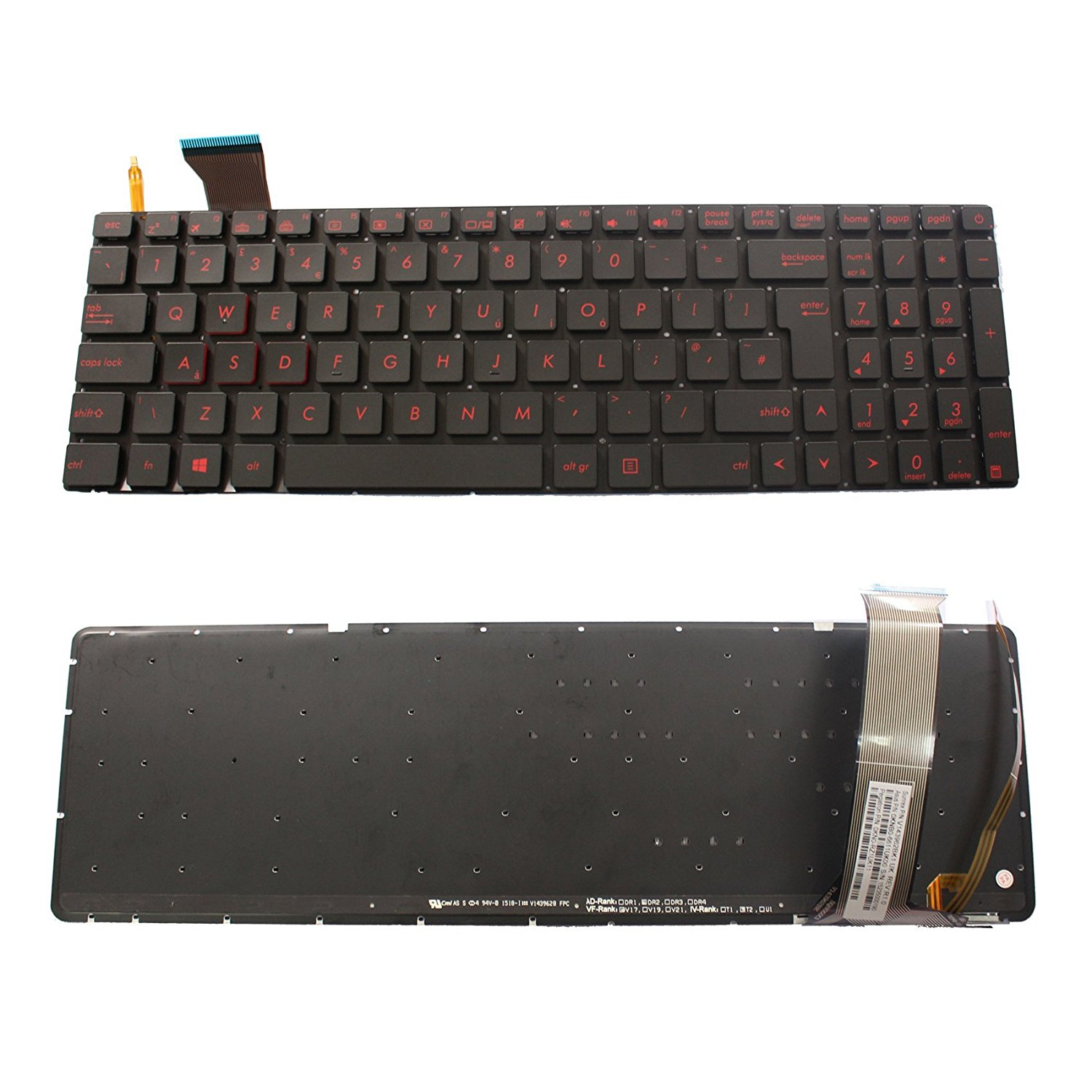 a857e06ac73 Generic NEW Black QWERTY Laptop UK Keyboard With Backlit For ASUS G551  G551J G551JK G551JM G551JW