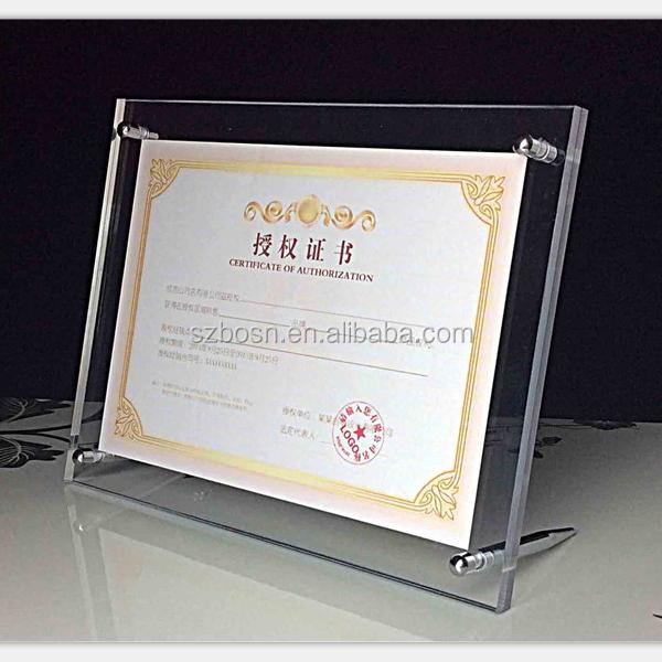 Acrílico Claro Diploma Marco Certificado Marco A4/a3 - Buy Marco De ...