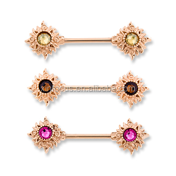 Rose Gold Sun Nipple Ring 14g Nipple Piercing Jewelry Buy Opal