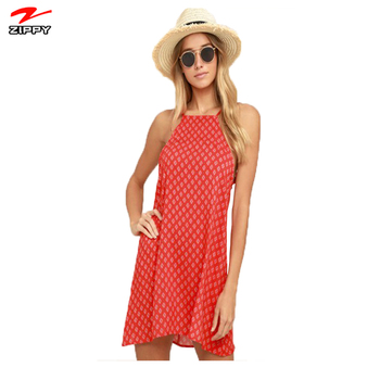 2018 Summer Comfort Bohemian Casual Women's Printed Red Print Shift Dress Online