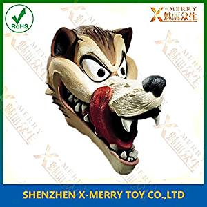 2015 - X-MERRY Hungry Wolf Adult Cartoon Style Deluxe Latex Mask, cartoon character from favorite childrens story,party mask