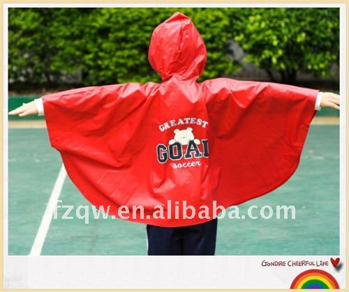 100% kids smooth pvc ripstop rain poncho