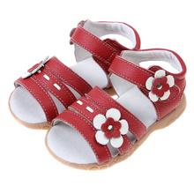 Kids Sandals 2016 Summer Genuine Leather Children Sandals for Girls Flower Girls Princess Shoes Baby Girls