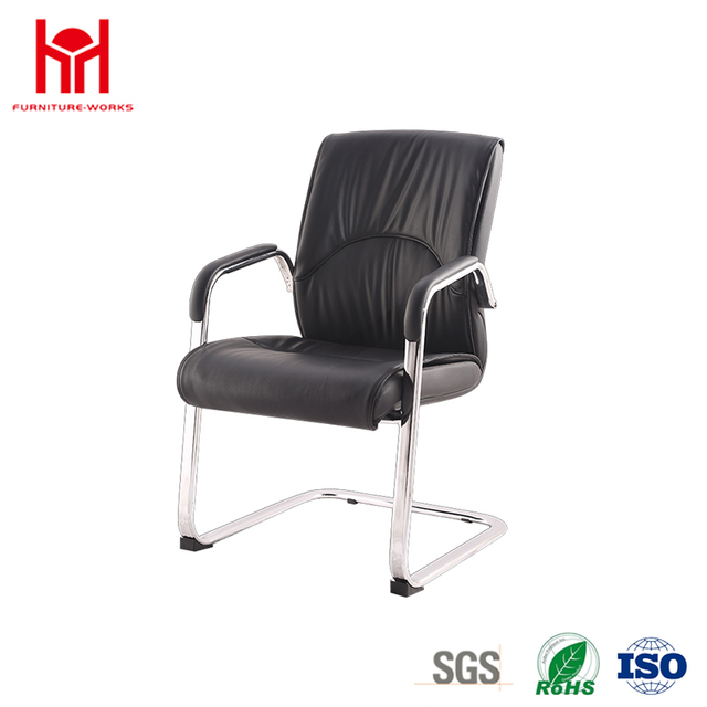 Low Back Leather Chair With Chromed Steel Base