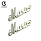 Eco friendly clothing accessories tag custom small brand name metal logo letter labels for garment