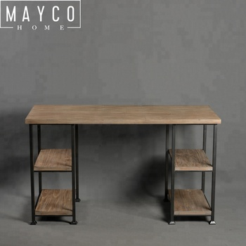 Mayco Loft Style Industrial Vintage Wood Metal Office Desk for Living Room